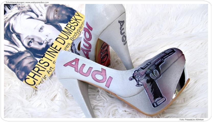 Schuhbemalung Schuhe Bemalen Handbemalt Audi Pistole Airbrush Braut